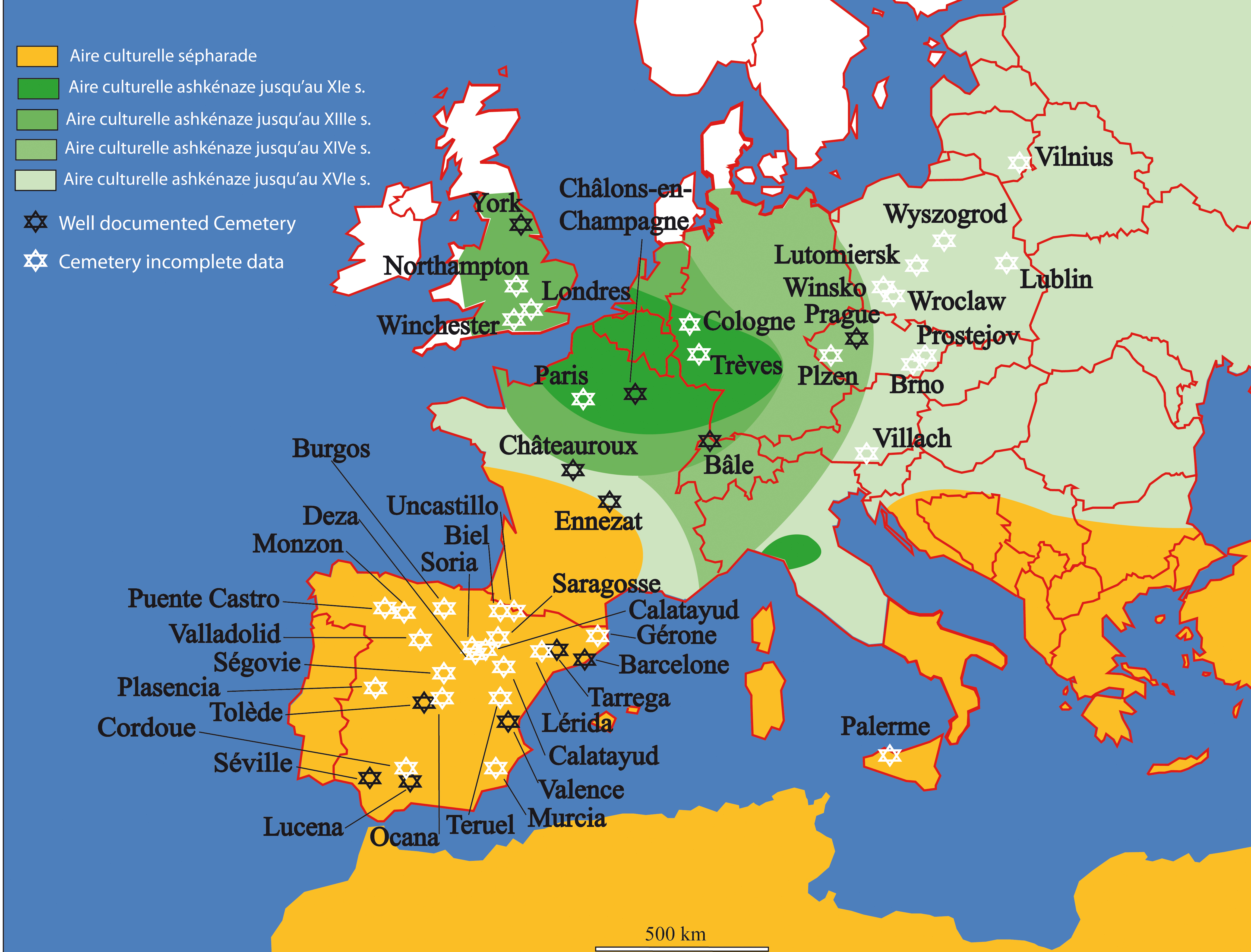 Jewish cemeteries in Europe - map